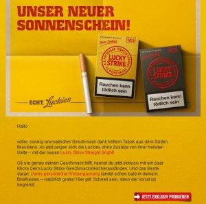 Zigaretten kostenlos bestellen