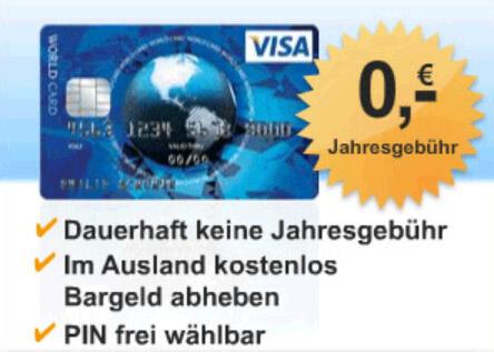 kostenlose Visa Card bestellen
